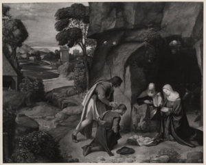 A photograph of Giorgione's <em>The Adoration of the Shepherds</em> is amonth the photos on display. (Photo: Unknown British Photographer/National Gallery of Art)