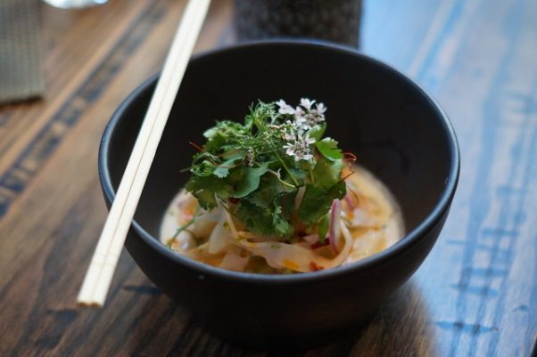 In the shrimp and cuttlefish ceviche, ribbons of seafood mimic noodles with chorizo in a coconut citrus broth. (Photo: Mark Heckathorn/DC on Heels)
