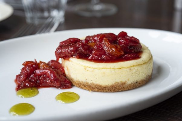 Nopa Kitchen+Bar is featuring vanilla bean cheesecake with oatmeal crust, tomato-strawberry compote and basil gel. (Photo: Nopa Kitchen+Bar)