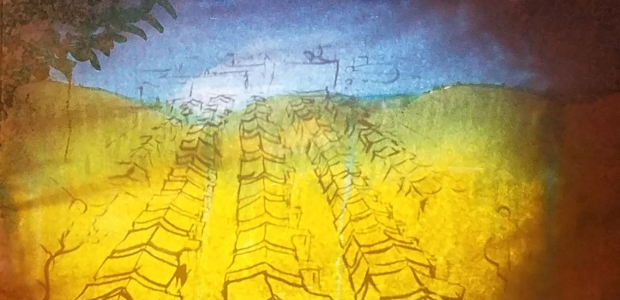 While Monica Dionysiou tells her story, artist Aaron Young illustrates it through live painting on a paper screen includng this painting of a tent city. (Photo: Mark Heckathorn/DC on Heels)