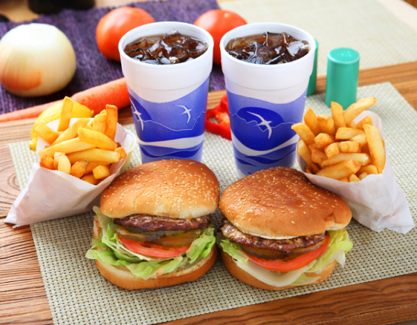 fast food meal of 2 burgers, 2 fries and 2 sodas. (Photo: Sober Nation)