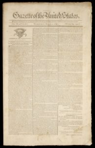 In March 1791, Congress passed Alexander Hamilton's plan for a National Bank, printed in detail in the Gazette of the United States in Philadelphia on Mar. 2, 1791. (Photo: PaperLoves Conservation)
