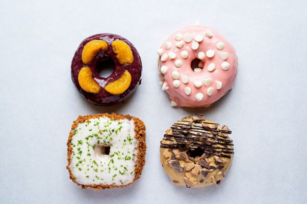 Astro Doughnuts & Fried Chicken's four special doughnuts for August. (Photo: Scott Suchman)
