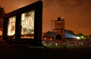 The Comcast Xfinity Outdoor Film Fest brings free movies to a bring screen at Strathmore while raising money for the NIH Children's Charities. (Photo: Comcast Xfinity Outdoor Film Festival)