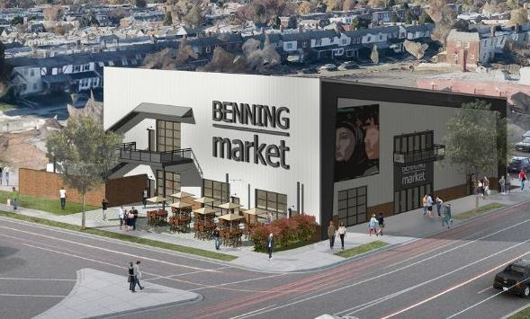 Neighborhood Development Co. plans to open a mini food hall on Benning Road NE. (Rendering: Neighborhood Development Co.)