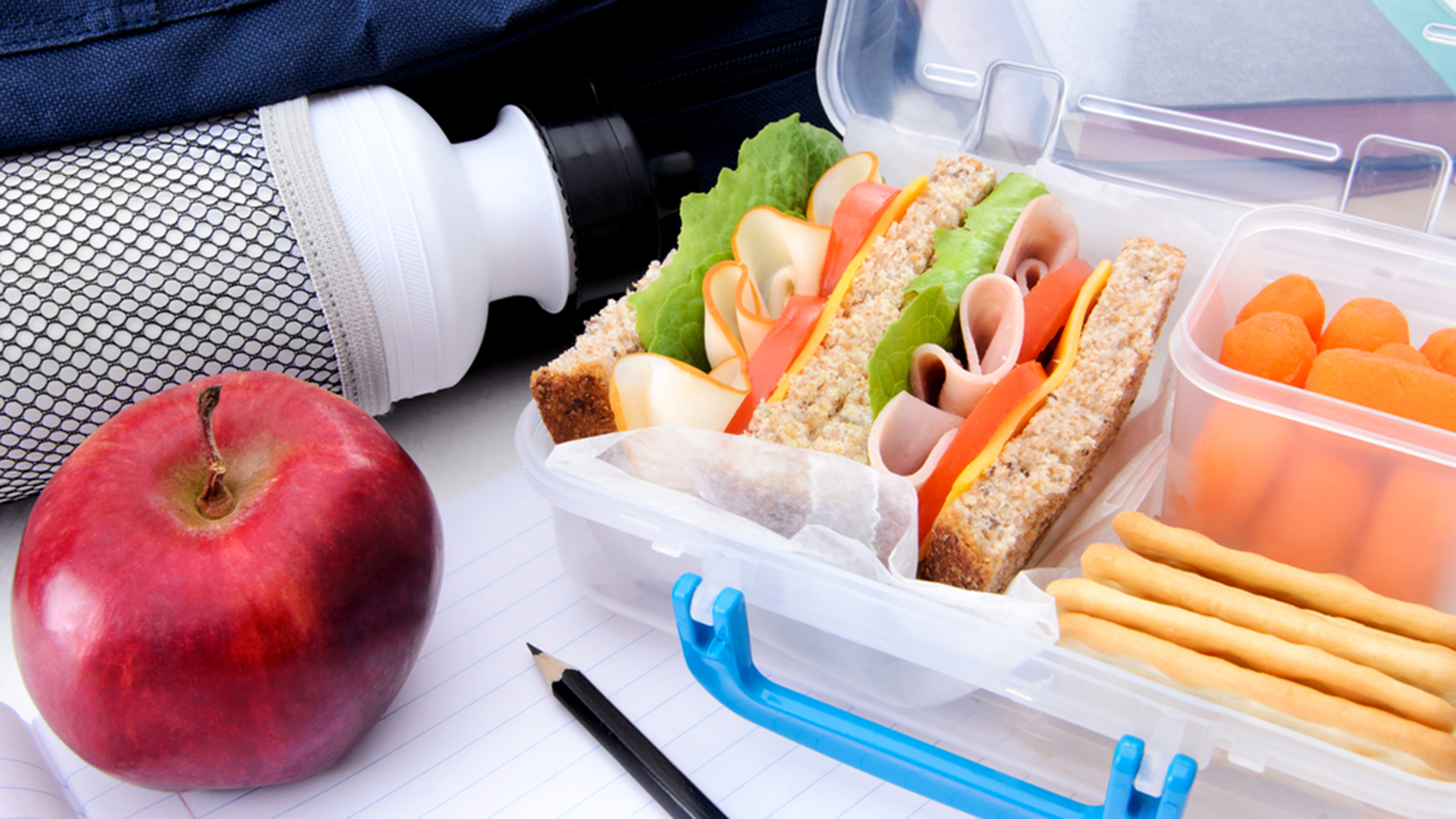 Lunch box ideas for happy healthy kids dc on heels a lunchbox with a sandwich fresh carrots crackers an apple and a bottle forumfinder Image collections