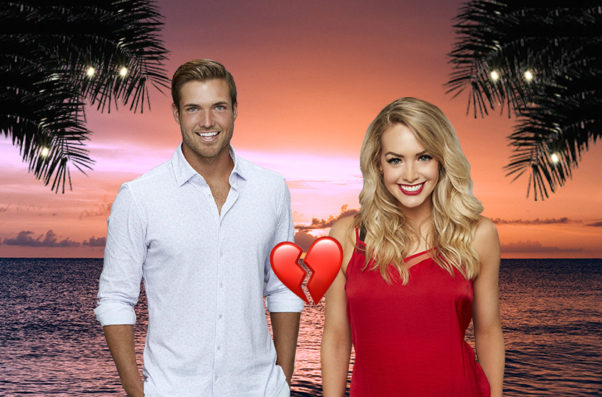 Jordan Kimball and Jenna Gordon from Bachelor in Paradise standing on a beach with a broken heart icon between them. (Photo: Flare)