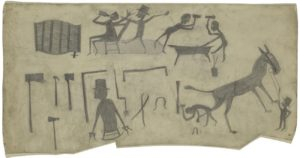 "Bill Traylor's ""Blacksmith Shop"" with silhouettes of blacksmiths, a horse and tools. (Photo: Metropolitan Museum of Art)"