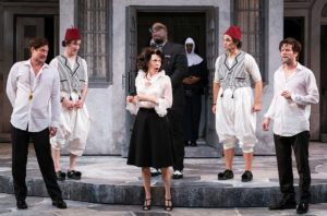 The cast of A Comedy of Errors in costume on stage. (Photo: Scott Suchman)