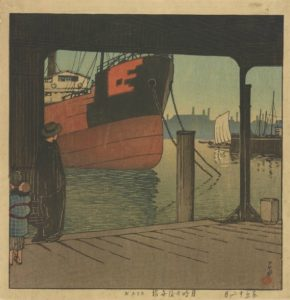 A woodblock print of a Ferryboat Landing at Tsukishmia by Kawase Hasui. (Photo: Freer|Sackler)