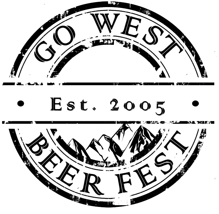The Go West Beer Fest round logo with mountain peakes circled by the name Go West Beer Fest. (Graphic: Go West Beer Fest)