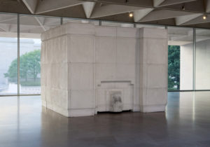 <em>Ghost</em>, a piece by Rachel Whiteread, that appears to be a small white building. (Photo: National Gallery of Art)