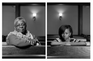 Photos of Mary Parker (left) and Caela Cowan (right) sitting in identially posted photos in the current day 16th Street Baptist Church. (Photos: Dawoud Bey)