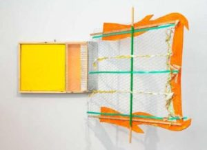 <em>What I Was Doing</em>, an abstract artwork in orange, green and yellow by Robert Tuttle. (Photo: Tom Barratt)