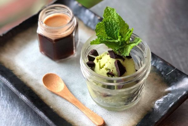 a jar of mint julep ice cream beside a jar of spiked espersso pour-over and a spoon. (Photo: Royal)