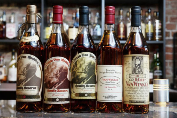 Five bottles of different Pappy Von Winkle bourbons sitting on top of a bar. (Photo: Jack Rose Dining Saloon)
