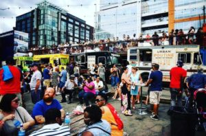 People and food trucks at Truckeroo in The Bullpen. (Photo: The Bullpen)