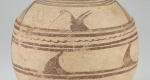 An ancient clay pot decorated with birds and lines from Iran. (Photo: Sackler Gallery)
