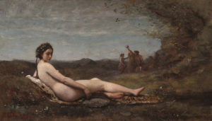 """The Repose"" by Camile Corot of a nakek woman from the side reclining in a field. (Photo: National Gallery of Art)"