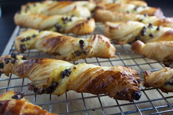 Chocolate torsade, croissant twists with vanilla crème patisserie and mini dark chocolate chips. (Photo: Sunday Morning Bakeshop)