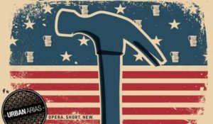A blue hammer logo in front of a red, white and blue American flag graphic. (Graphic: UrbanArias)