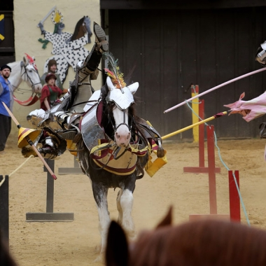 A jouster falling off his horse. (Photo: Maryland Renaissance Festival)