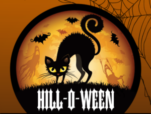 A black cat in a circle on an orange background with bats flying overhead and the word Hill-O-Ween underneath. (Graphic: Captiol Hill BID)