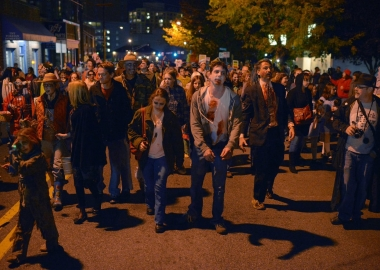A crowd of zombies marching through Silver Spirng. (Photo: Bill O'Leary/Washington Post)