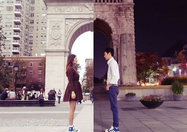 Danbi Shin (female) in NYC in front of an archway looking east, while Seok Li (male) in Seou faces west in front of a different archway. The two halves are comebined to create one photo. (Photo: ShinLiArt)