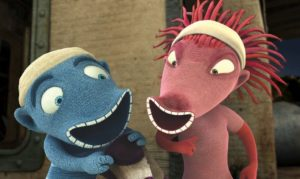 A scene from the movie Oddsockeaters of a blue oddsockeater on teh left and a pink one on the right. (Photo: European Union)