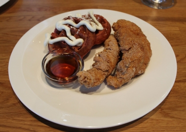 Chicken tenders and red velvet mini waffles from Connie's Chicken & Waffles in Baltimore. (Photo: Mark Heckathorn/DC on Heels)