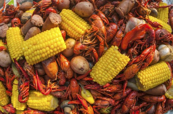 Closeup of a low country boi with with crayfish, sausage, corn on the cob and potatoes. (Photo: nola.com)