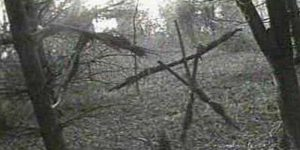 A sceen from Blair Witch Project of branches forming a X on a cross. (Photo: Blair Witch Project)