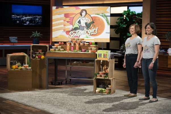 Mother and daughter Marilyn and Sara Polon (l to r) standing on stage in front of their Soupergirl display on ABC's <em>Shark Tank</em> hoping to get a $500,000 investment. (Photo: ABC)
