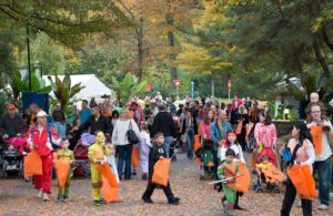 A crowd of adults and children in costume at the National Zoo trick-or-treating. (Photo: National Zoo)