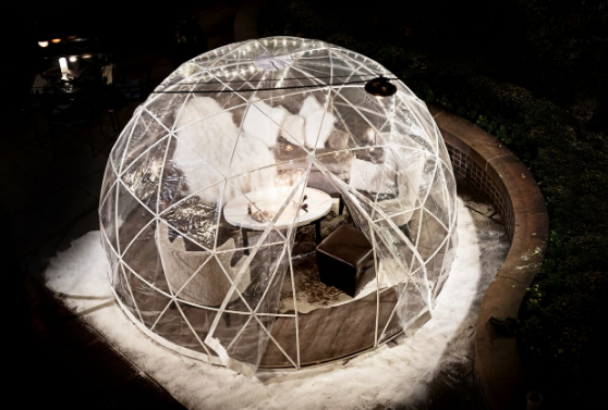 One of the ice domes from above on the patio of Bourbon Steak. (Photo: Bourbon Steak)