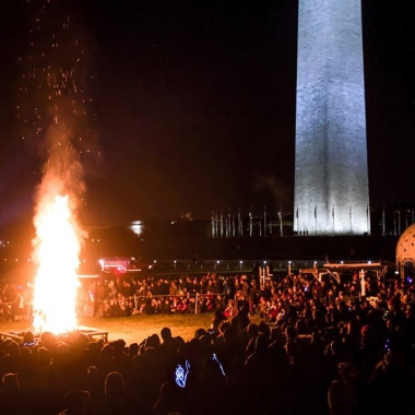 People gather around the Catharsis on the Mall's
