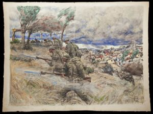 A painting of a battle during WWI. (Photo: National Museum of American History)
