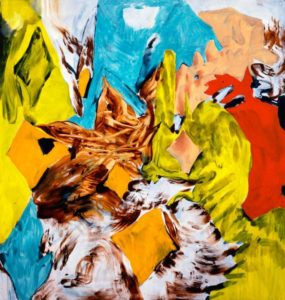 Colorful abstract painting by Charline Von Heyl with brown, yellow, red, black, white and turquiose colors. (Photo: Charline Von Heyl and Pretzel)