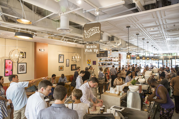 People ordering inside the Philz Coffee in Dupont on opening day. (Photo: Philz Coffee)