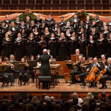 The National Symphony Orchestra and the University of Maryland Concert Choir on the stage of the Kennedy Center during a past performance of Handel's Messiah. (Photo: Scott Suchman)