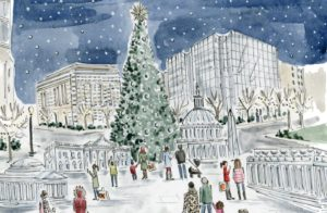 An artisit rendering of the ice sculptures including the U.S. Capitol, White House, Washingotn Monument and Jefferson and Lincoln Memorials in front of CityCenterDC's 80-foot tree with people looking on. (Photo: CityCenterDC)
