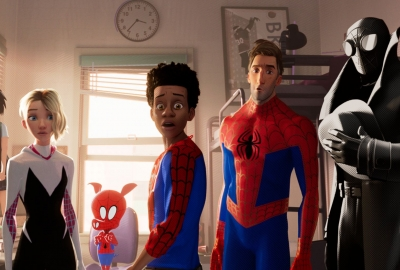 Standing l to r are Peni Parker, Spider Gwen, Spider-Ham, Miles Morales, Peter Parker and Spider-Man Noir. (Photo: Sony Pictures)