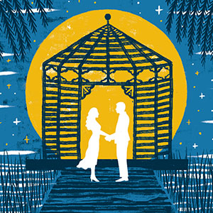A drawing of two people holding handsin front a gazebo in the moonlight. (Photo: Theater J)