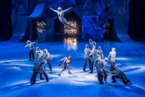 Skaters on ices as one soars through the air. (Photo: Cirque du Soleil)