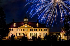 Fireworks going off in the sky over the Mount Vernon Mansion at night. (Photo: Mount Vernon)