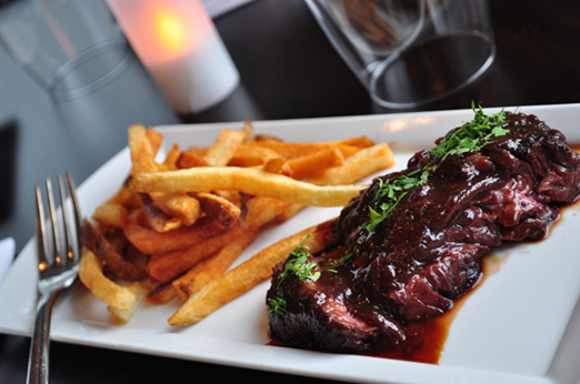 Steak and frites on a plate. (Photo: Bastille)