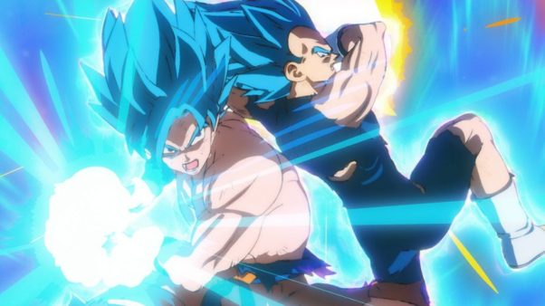 Two characters from Dragon Ball Super: Broly with blue hair fight. (Photo: FUNimation Films)