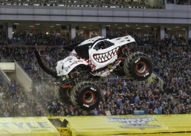 Monster Mutt Dalmation monster truck in mid air. (photo: Feld Entetainment)