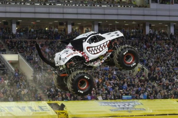 Monster Mutt Dalmation monster truck in mid air. (photo: Feld Entetainment)